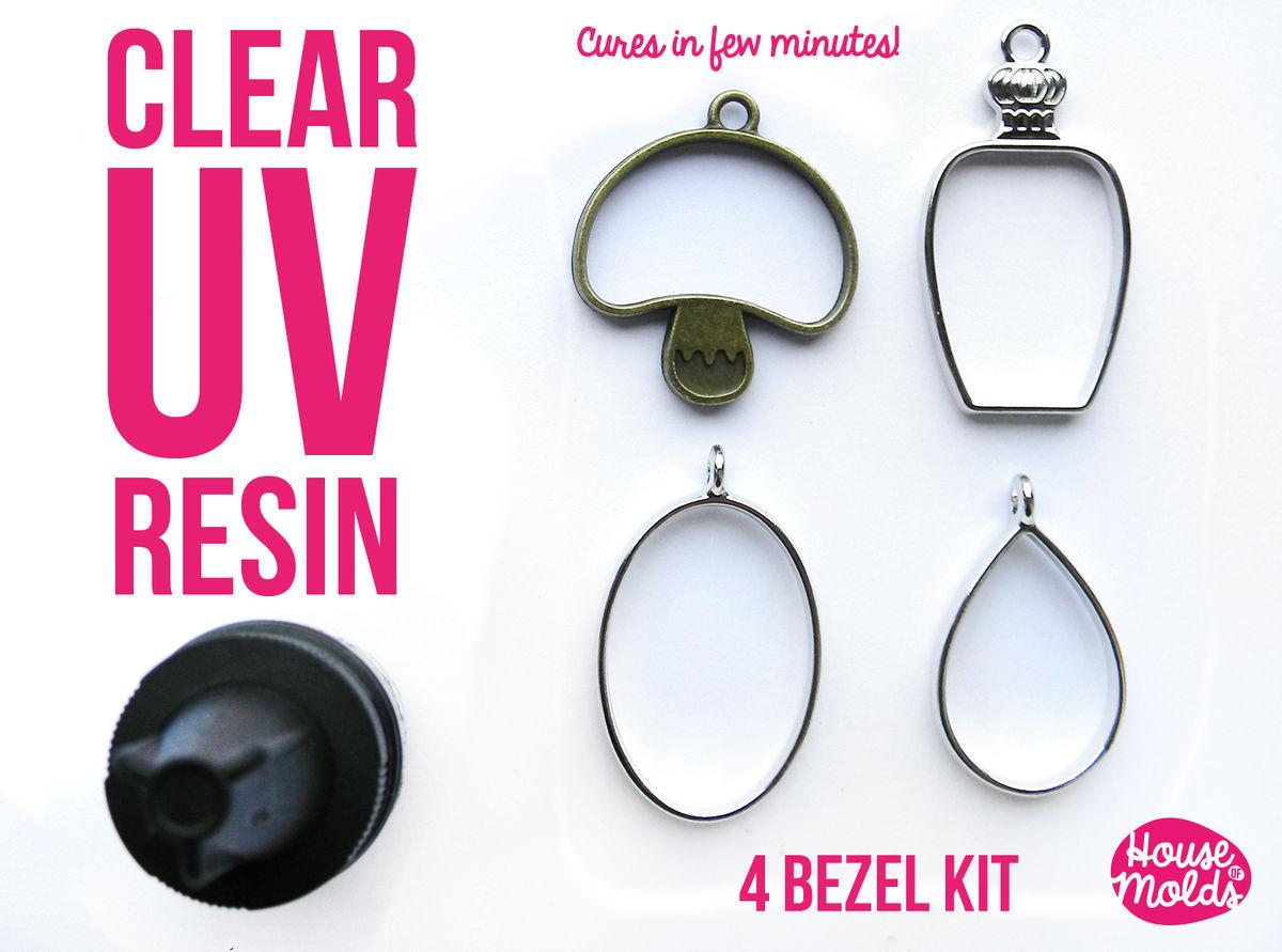 Uv Resin Kit + free gift bezels -Clear Uv hard type resin