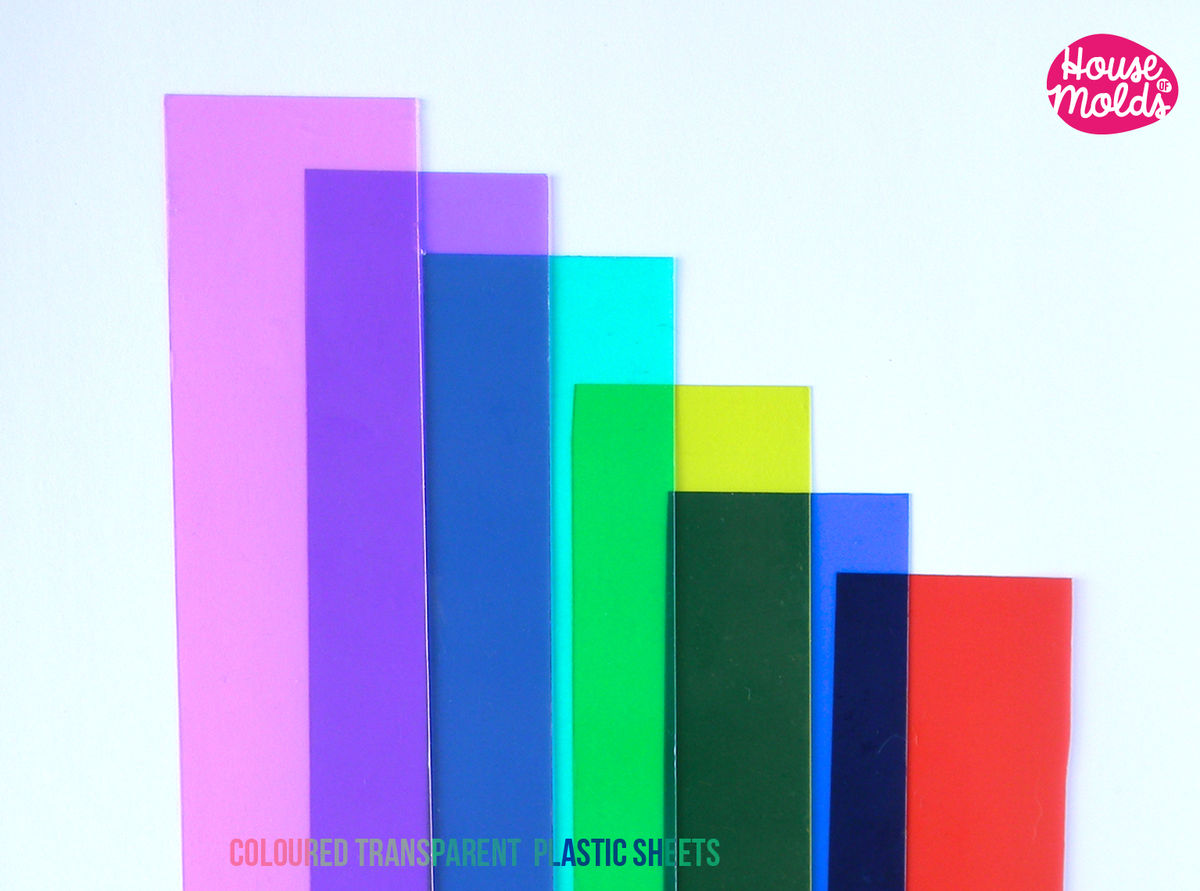 6 COLOURED PLASTIC SHEETS ,ideal for any type of resin inclusions ,scrapbooking,home decoration art projects  - product images  of