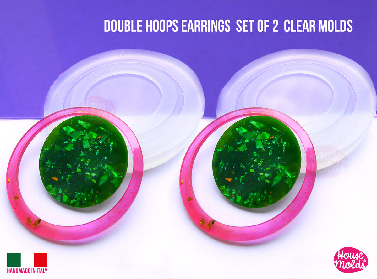 Hoops and Circles Mod earrings 2 Clear Molds ,endless combinations easy to use Transparent Molds to make earrings or pendants: super shiny - product images  of