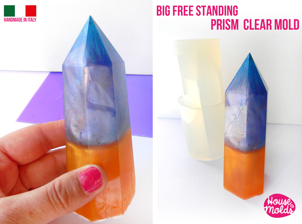 Free Standing Big 11,8 cm tall Crystal Prism Clear Silicone Mold-Hexagonal natural shaped House Of Molds ,super shiny surface - product images  of