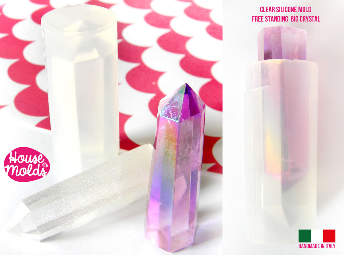 Free Standing Medium Crystal Prism Clear Silicone Mold Hexagonal Natural Shaped 58mm X18mm