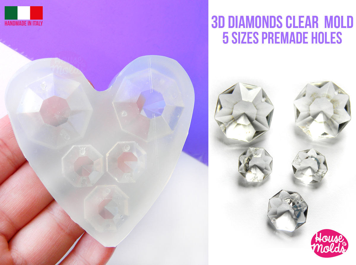 5 Diamonds Clear mold ,3D-resin Cystals , premade holes, super glossy  - product images  of