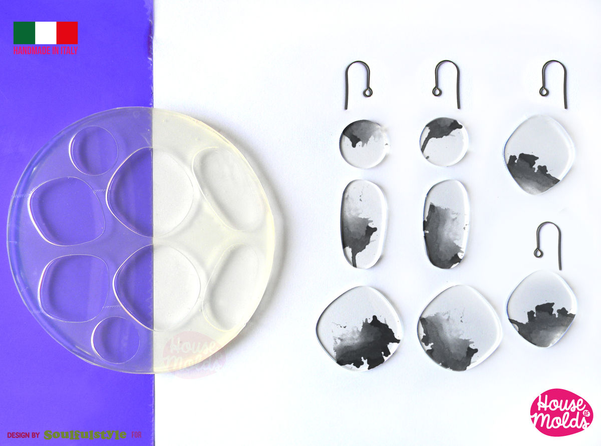River Stones earrings set  Clear Mold , easy to use 8 Cavityes , Transparent Molds super shiny ! Soulfulstyle Design for House of molds HOM7 - product images  of