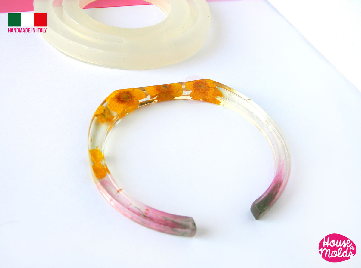 Thin Bar Cuff Bangle Clear Mold,resin bangle mold, 3 SIZES AVAILABLE ,super shiny results! house of molds special design - product images  of