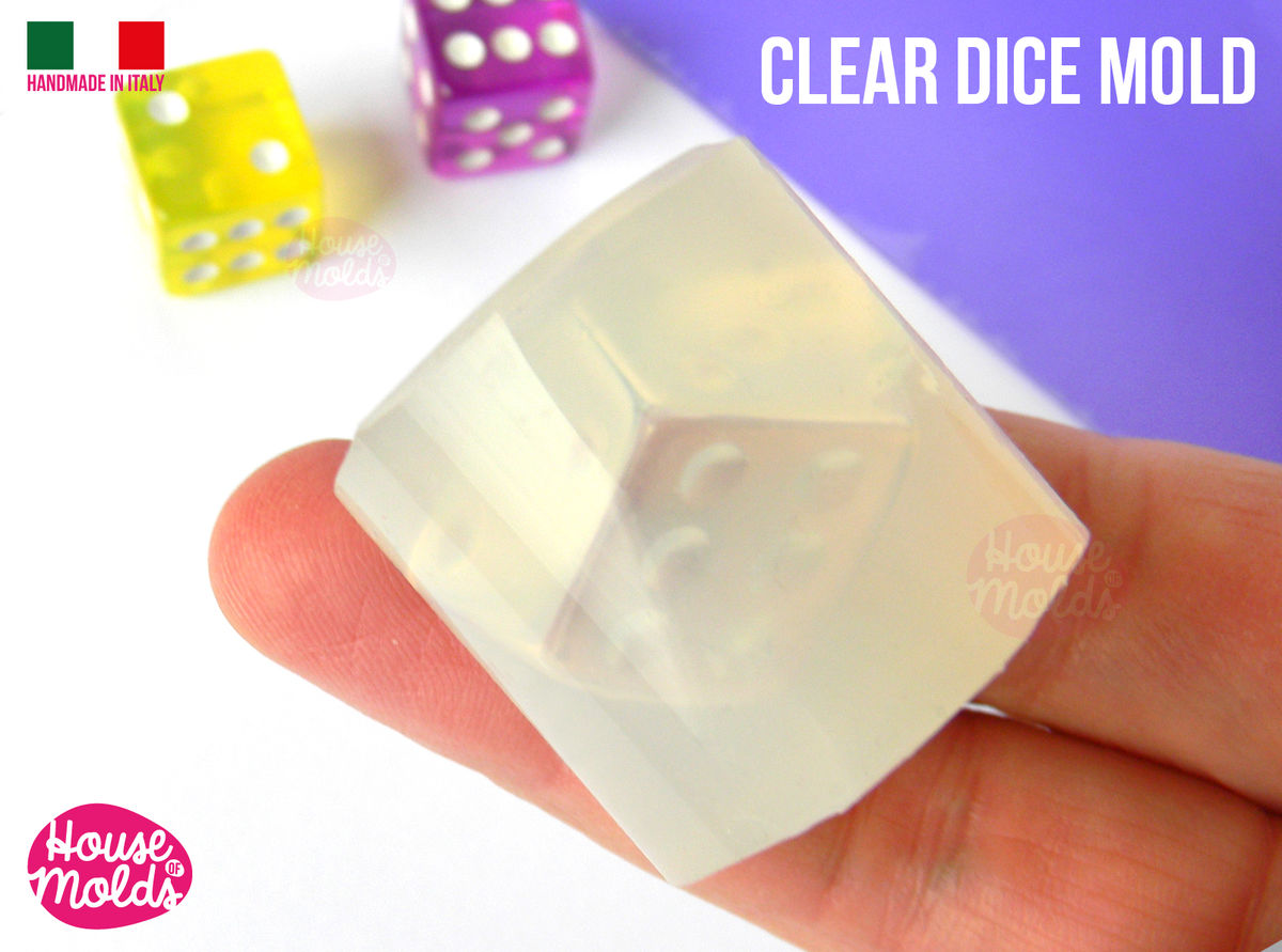 Six Sided Gamer Dices Clear Silicone Molds - HOUSE OF MOLDS- Play dices with dots engraved silicone clear molds,super shiny surface - product images  of