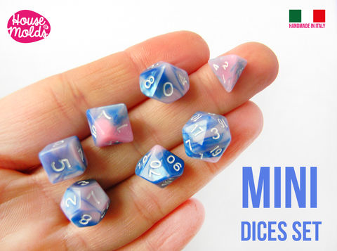 MINI,Gamer,Dices,Set,of,7,Clear,Silicone,Molds,-,HOUSE,OF,MOLDS-7,Role,Play,dices,with,number,engraved,silicone,clear,molds,super,shiny,surface,mini_role play dices,d20,d&d custom dices,resin dices,gamer dices,Supplies,silicone_mold,jewelry_making,clear_resin,resin_supplies,mold_for_pendant,clear_mold,mold_for_resin,mold_for_necklace,resin_mold,resin_drop_mold,drop_mold,quartz_maker,prism_mold,cl