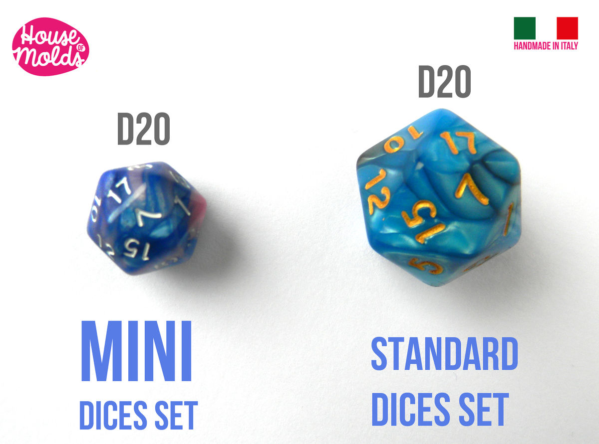 MINI Gamer Dices Set of 7 Clear Silicone Molds - HOUSE OF MOLDS-7 Role Play dices with number engraved silicone clear molds,super shiny surface - product images  of