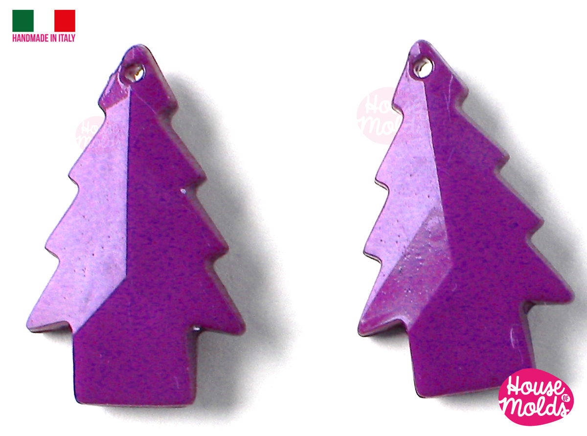 4 Tiny trees  faceted earrings Clear Mold , Pre Made Holes on Top - Transparent Mold to make earrings or pendants: super shiny - product images  of