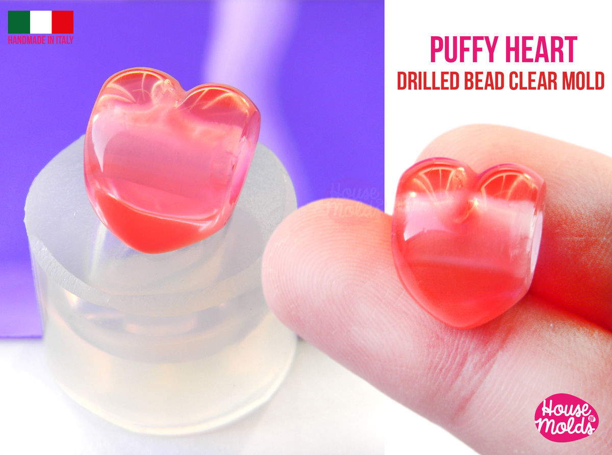 3D Heart Drilled bead Clear Mold , puffy heart bead 16 mm x 13 mm , thickness on center 13 mm , super shiny Special House of mold design - product images  of