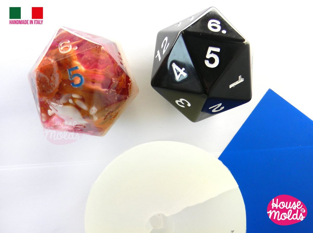 D20 Big Dice Mold 5 x 6 cm Clear Silicone Molds - HOUSE OF MOLDS-1 Big Role Play dice mold with number engraved ,super shiny surface - product images  of