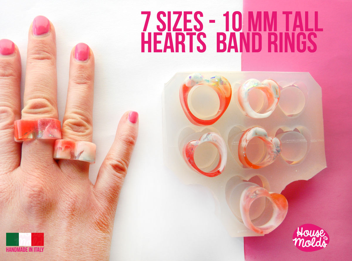 7 Sizes Heart Band Rings Clear Mold,Mold for Multisize heart Band rings 10 mm tall from Usa size 5 to 11.5 -super glossy resin creations - product images  of