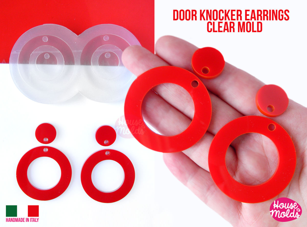 Door Knocker Round Circles earrings Clear Mold ,Premade Holes tot 4 cavity, easy to use Transparent Mold , super shiny - house of molds - product images  of