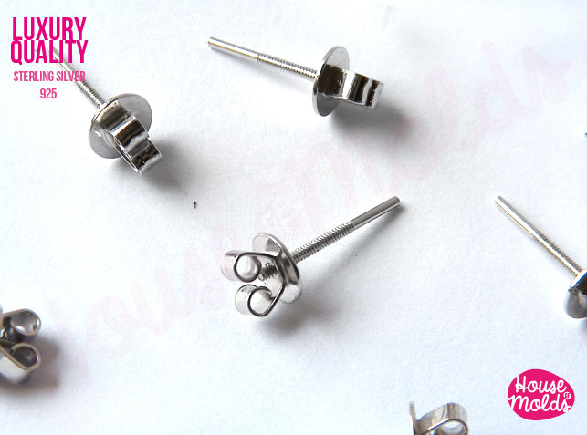 Luxury Sterling Silver Posts Studs Earrings Blanks 13 mm x 0,5 diam Backs included 925 marked -Fine Jewelry making - product images  of