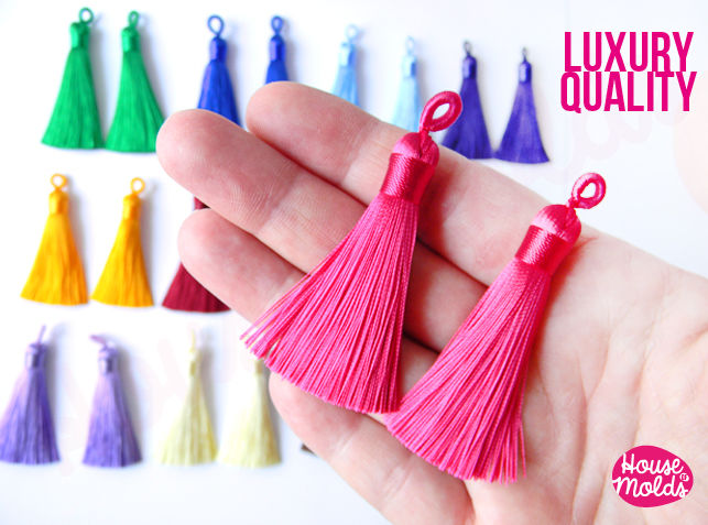 Luxury Shiny Silk Tassels - 65 mm long- 12 Colours to choose-perfect for earrings-necklace decorations making -soft and light poly silk  - product images  of