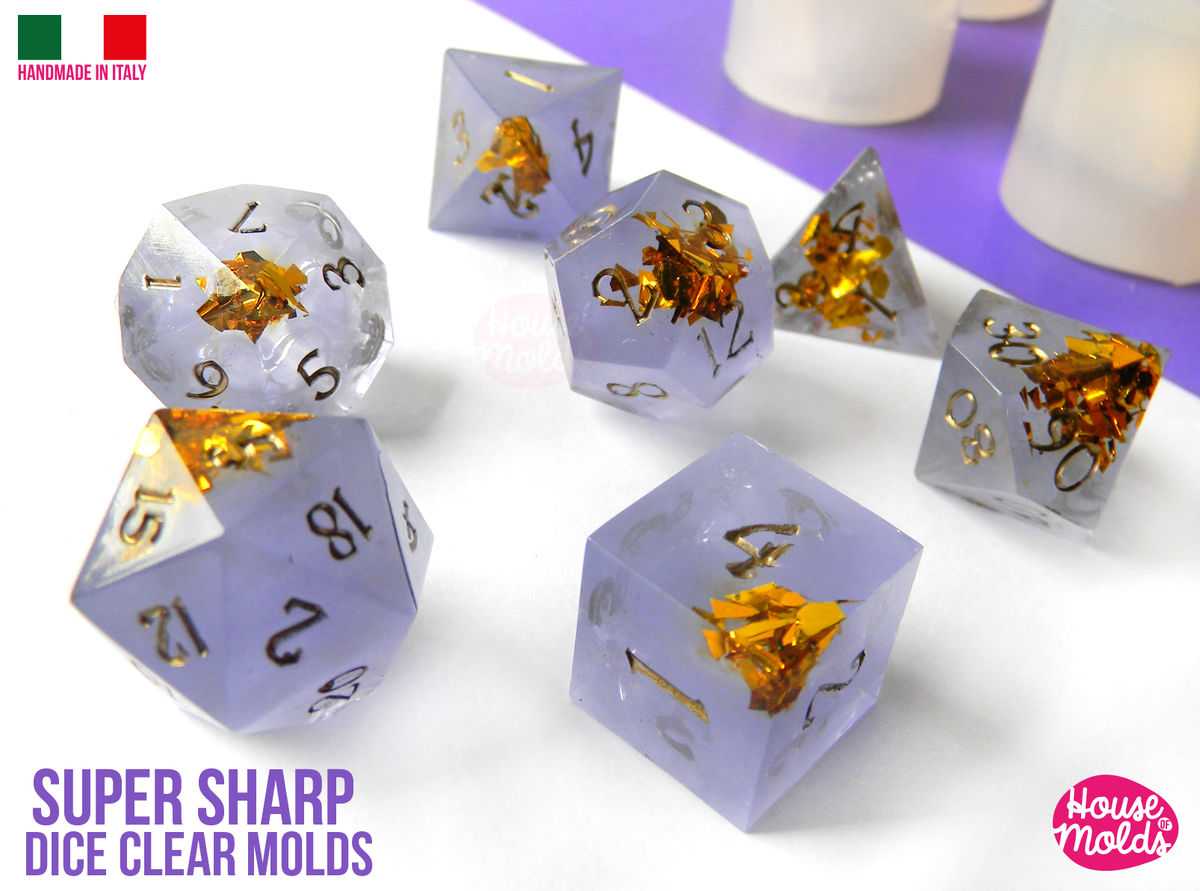 SUPER SHARP Gamer Dice Set of 7 Clear Silicone Molds - HOUSE OF MOLDS- Role Play Super Sharp edges dice , all sides with numbers engraved  - product images  of