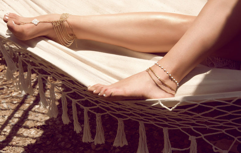 KATY ANKLET- gold chain foot anklet available in gold or silver - product images  of