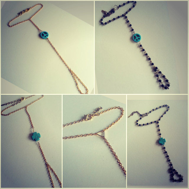 turquoise cross hand jewelry. Bracelet. hand chain - product images  of