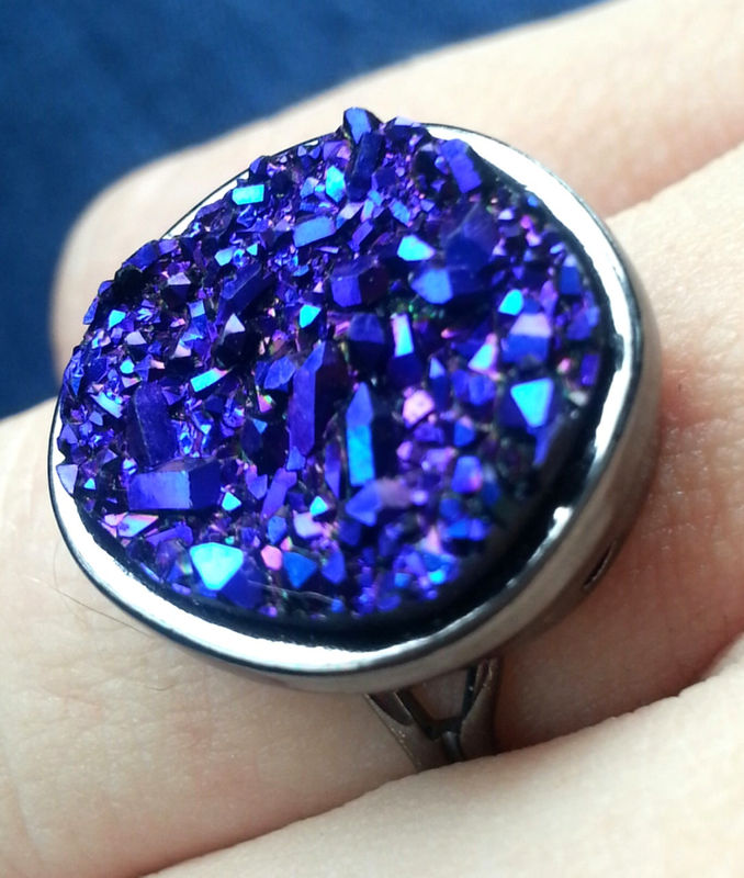 Drusy quartz ring in blue, gold, silver or purple - product images  of