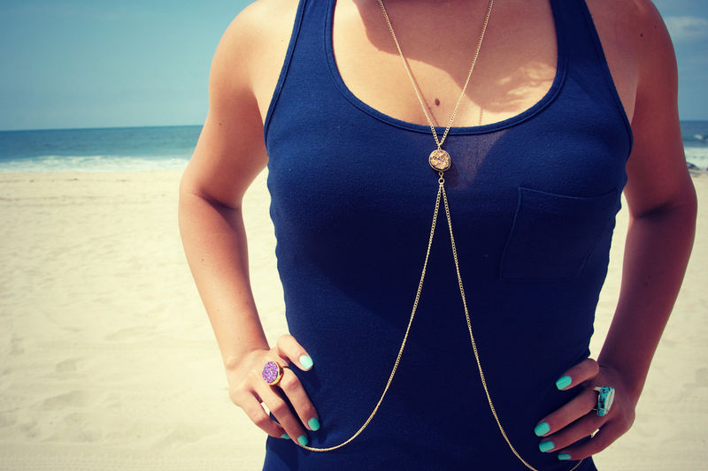 Drusy. druzy quartz body chain, body harness in gold, silver or blue - product images  of