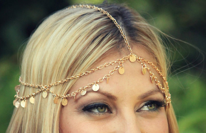 CHAIN HEADPIECE- gold disc chain headdress/headpiece - product images  of