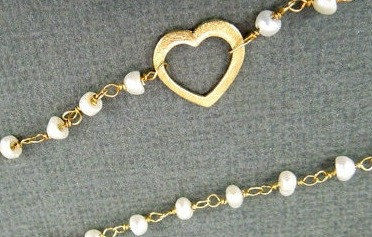 BYSEA ANKLET- triple chain Pearl wire wrapped with 24k gold overlay - product images  of