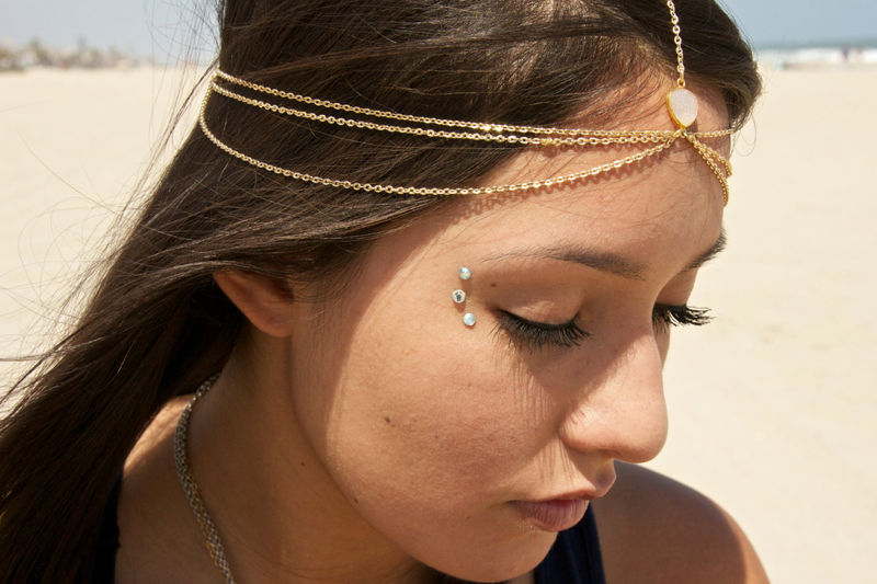 Drusy Druzy quartz gold vermeil head chain. headpiece. headdress - product images  of