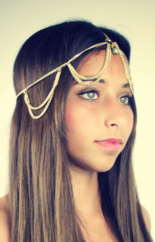 CHAIN HEADPIECE- chain headdress head chain SALE reg 30 - product images  of