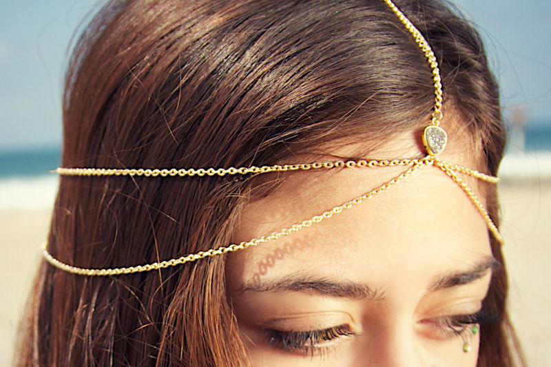 Drusy Druzy quartz gold vermeil wedding head chain. headpiece. headdress - product images  of