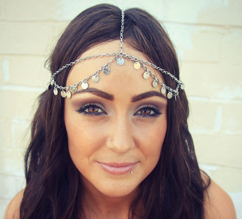 CHAIN,HEADPIECE-,head,chain,silver,disc,headdress/headpiece,Accessories,Hair,chain_headdress,hair_piece,belly_dance,boho,chain_headband,headband,chain_head_piece,gypsy,headdress,hippie,wedding,bride_hair_piece