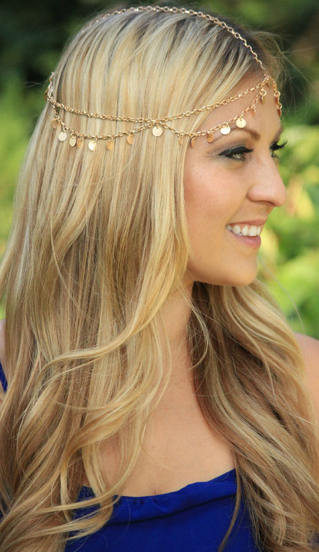 CHAIN HEADPIECE- head chain silver disc chain headdress/headpiece - product images  of
