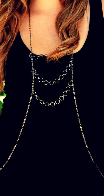 GUNMETAL BODY CHAIN harness - product images  of