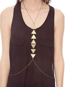 GEOMETRIC brass body chain necklace - product images  of