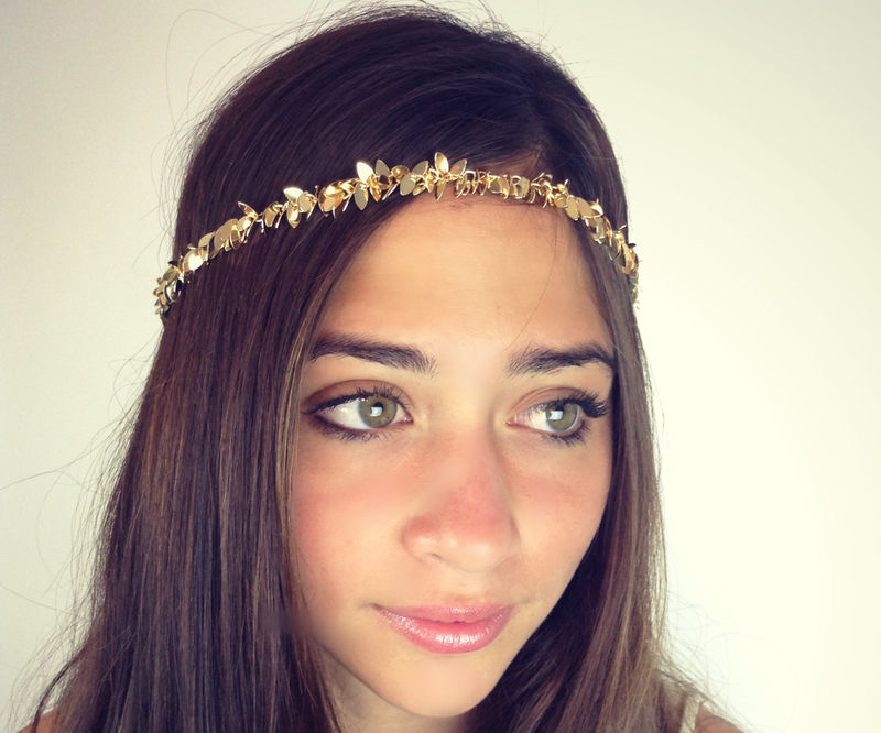 CHAIN HEADPIECE- chain headdress head chain gold or a silver leafchain - product images  of