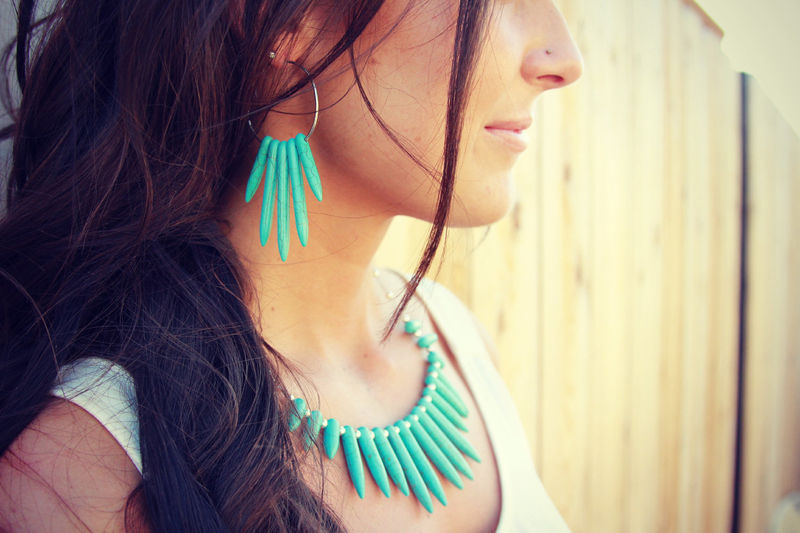 Turquoise Spike necklace in silver  - product images  of