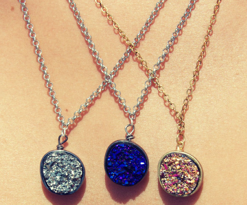 Drusy. druzy quartz necklace in blue, gold, silver or purple - product images  of