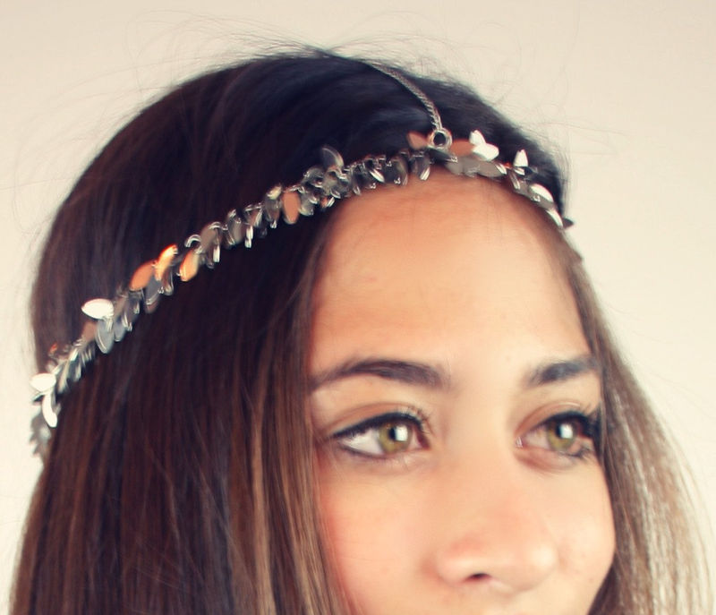 CHAIN HEADPIECE- chain headdress head chain silver leaf - product images  of