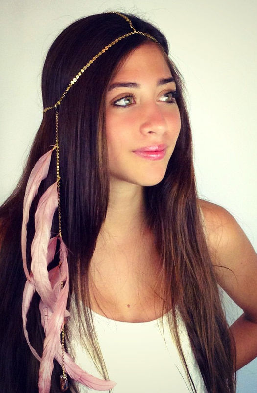 CHAIN HEADPIECE- head chain headdress feather headpiece with crystals - product images  of