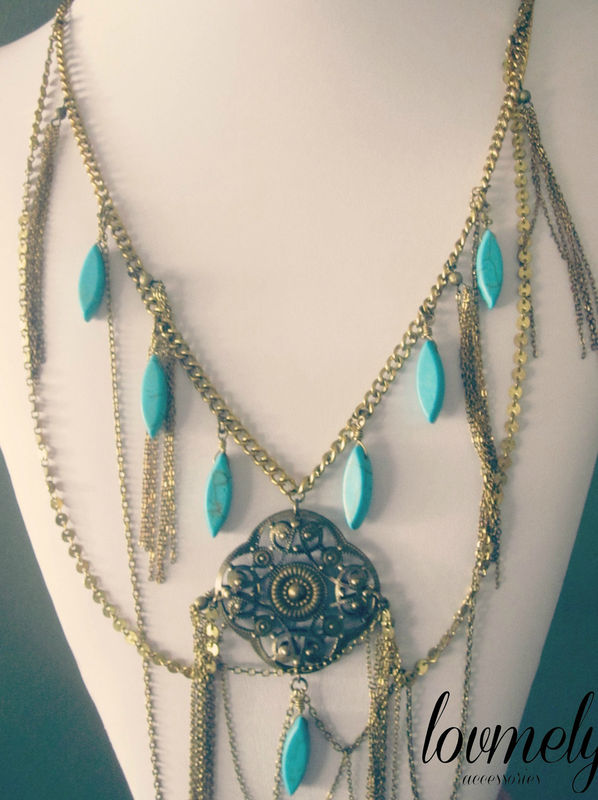 BOHEMIAN LUXE wire wrapped turquoise and chain necklace - product images  of