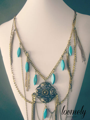 BOHEMIAN,LUXE,wire,wrapped,turquoise,and,chain,necklace,Jewelry,turquoise_necklace,neck_piece,bohemian,luxe,vintage,chain_necklace,chain_neckpiece,body_chain,turquoise_chain,jewelry