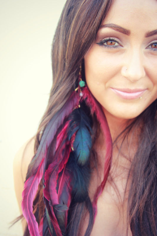 LISA - PInk Long Single Feather Earring - product images  of