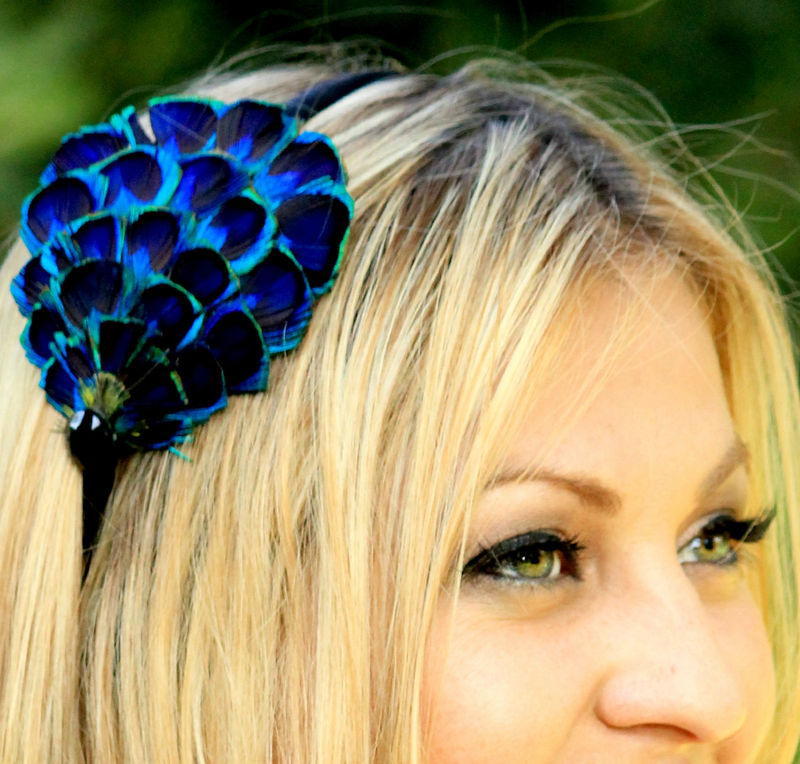 PEACOCK FEATHER headband or clip with embelishment - product images  of