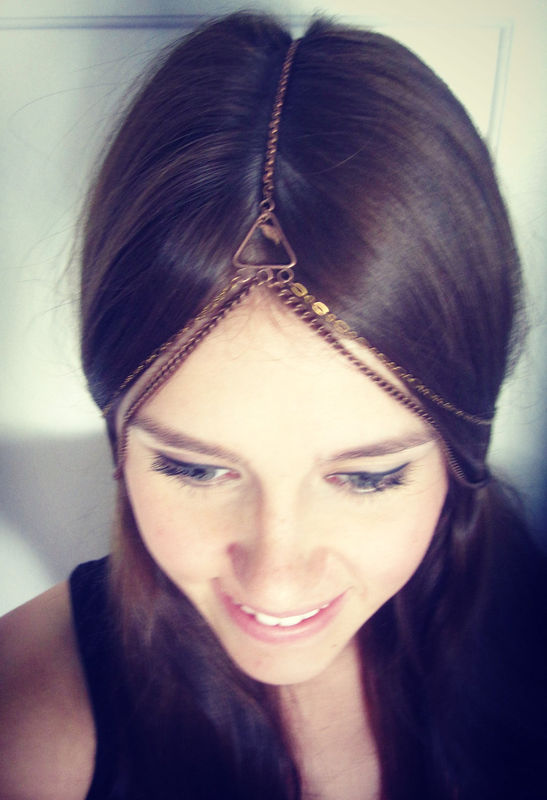 CHAIN HEADPIECE- chain headdress head chain - product images