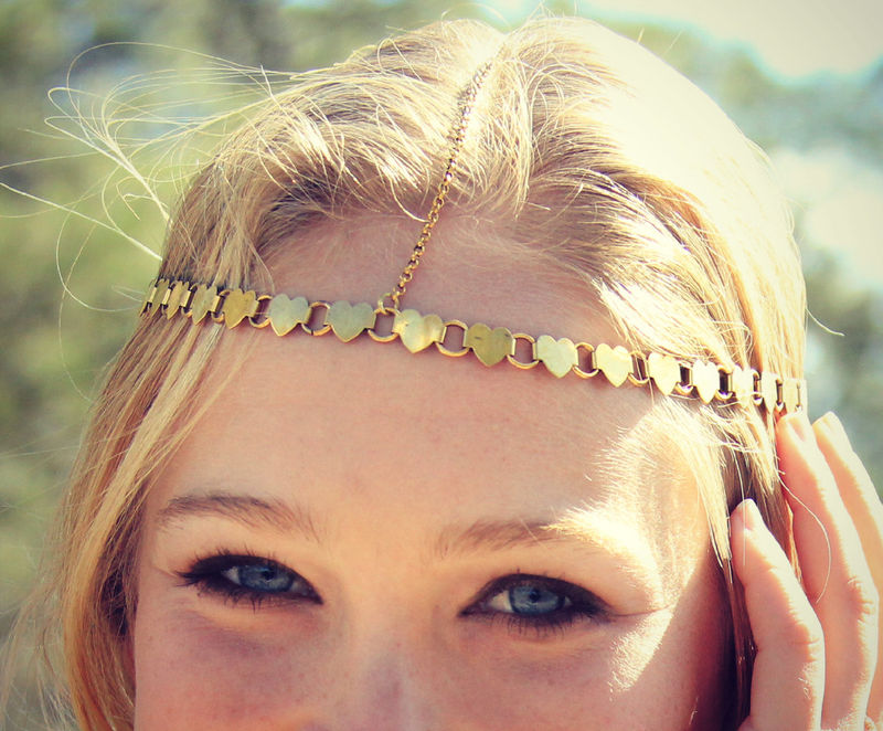 LOVMELY VINTAGE HEART head chain/ headpiece chain headdress valentine's day - product images  of