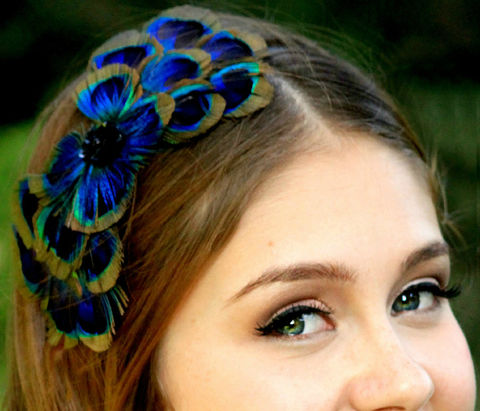 PEACOCK,BOW,feather,headband,Accessories,Hair,fascinator,cocktail_hat,hair_piece,wedding,bridesmaids,peacock,peacock_costume,peacock_feather,peacock_wedding,bride,peacock_head_piece,felt,clip,jewel,diamond,fabric,button