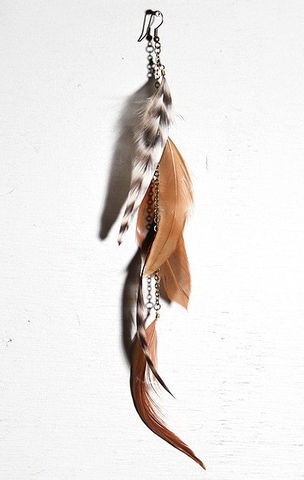 BRIGETTE,single,feather,earring,Jewelry,Earrings,Wire_Wrapped,long_earrings,feather_earring,boho,indie_fashion,tribal,feather_extension,kesha,peacock_earring,extension_clip,single_earring,native_american,peacock feather,ostrich feather,charm