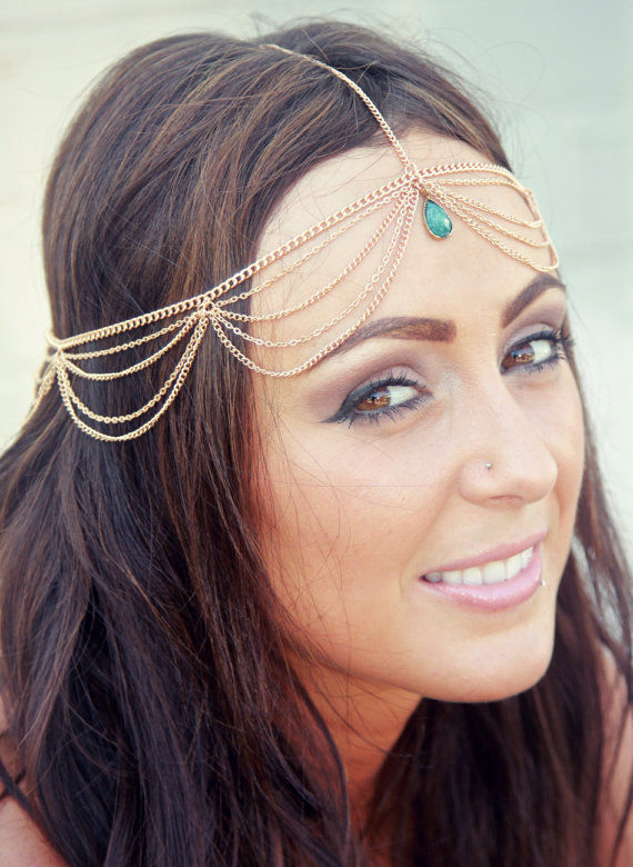 CHAIN HEADPIECE / HEAD CHAIN with turquoise embellishment - product images  of