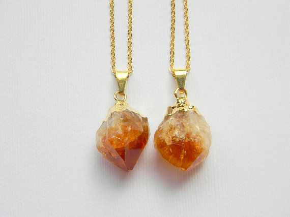 gold and citrine necklace - product images  of