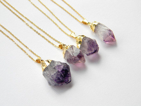 gold and amethyst necklace - product images  of