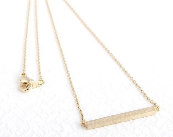 tiny bar Necklace - 14k Gold Filled Necklace, Dainty Gold - product images  of