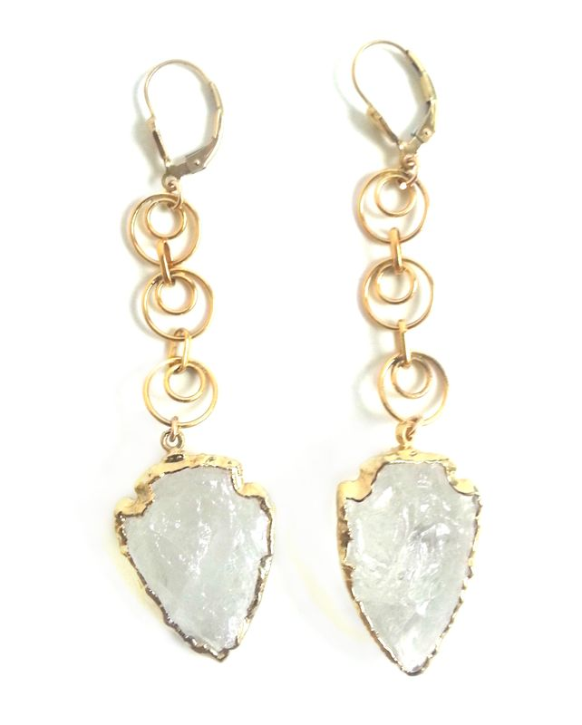 QUARTZ ARROWHEAD earrings , 24kt Gold Dipped and gold Filled earrrings - product images  of